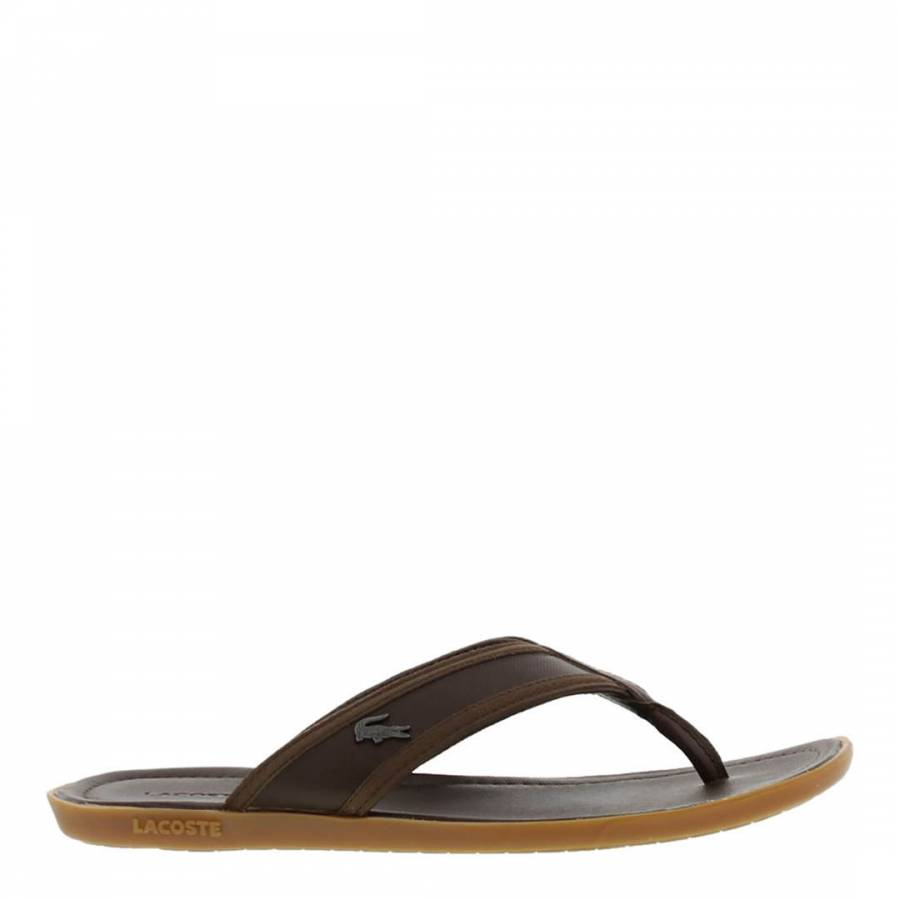 033303c5f Lacoste Mens Dark Brown Leather Carros Flip Flops. prev. next. Zoom