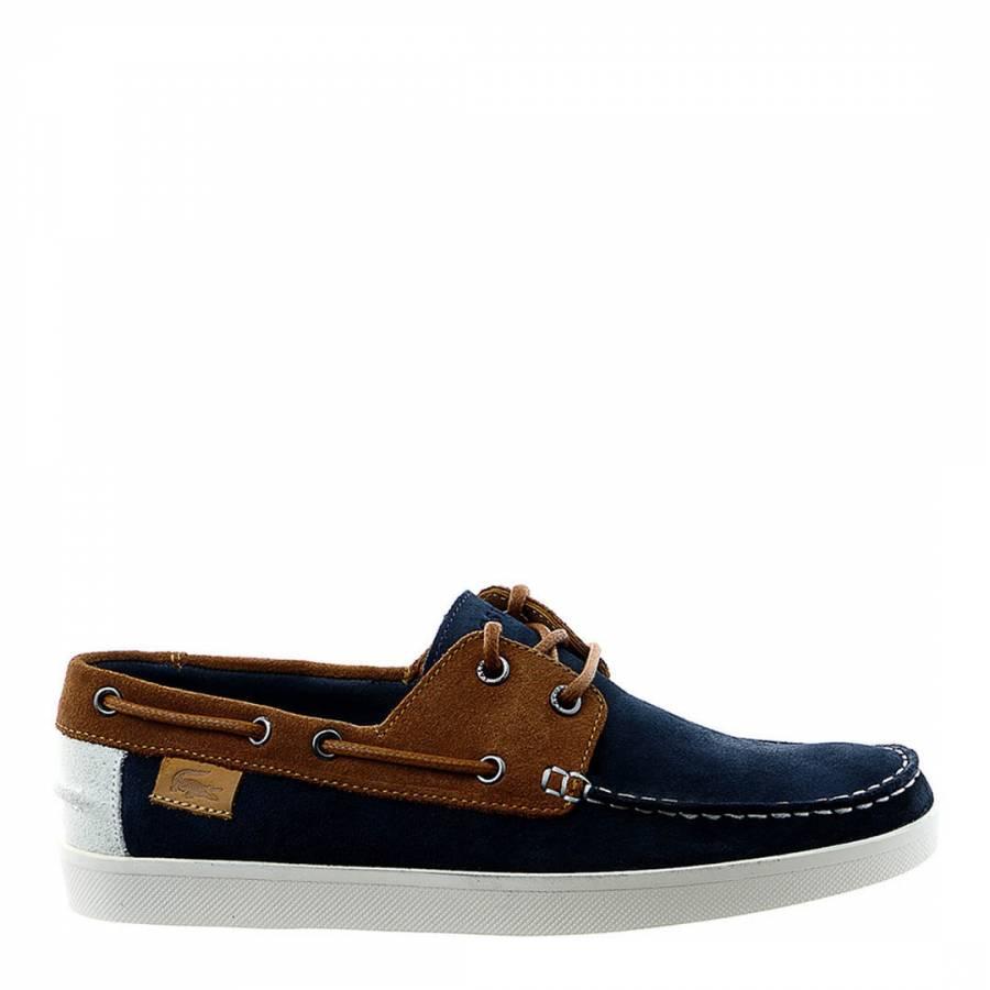 6898aaebb Lacoste Men s Navy Tan Keelison Boat Shoes. prev. next. Zoom