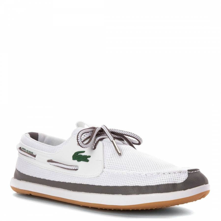 69c03fd4039475 Lacoste Mens White Mesh and Leather Landsailing Shoes. prev. next. Zoom