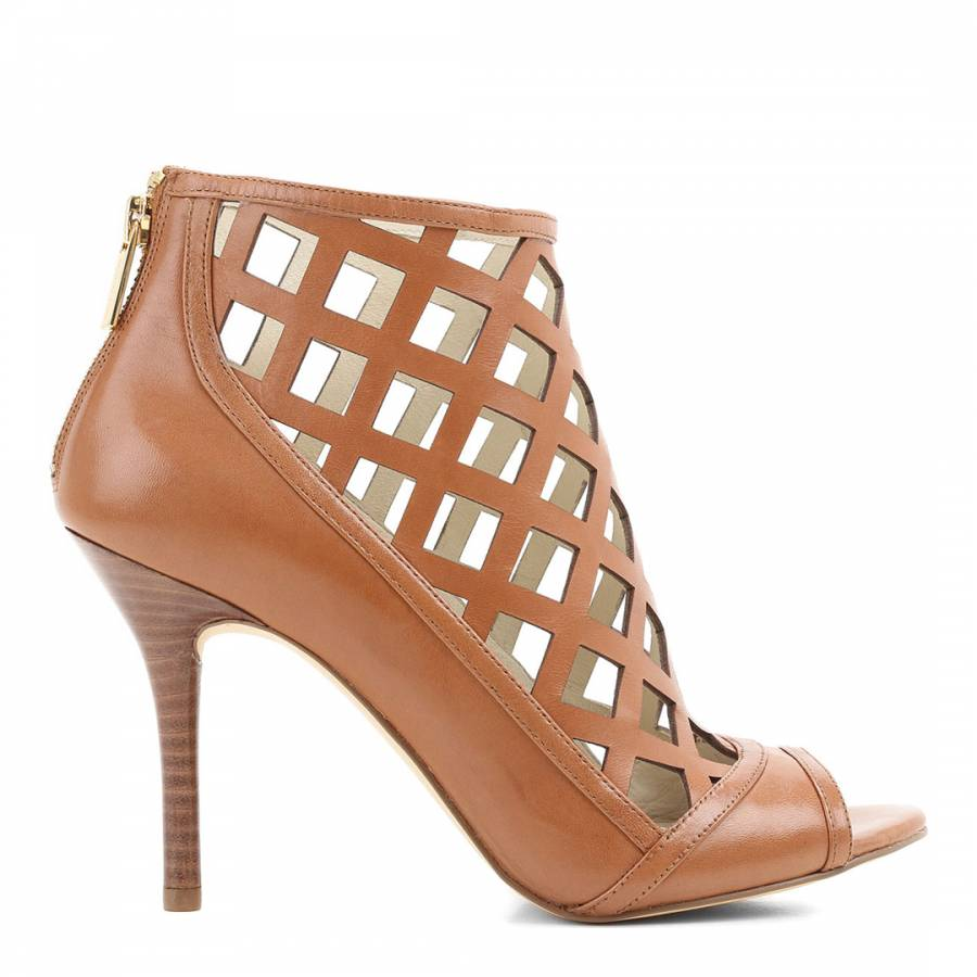 Tan Lattice Leather Peep Toe Shoes Heel 10cm Brandalley