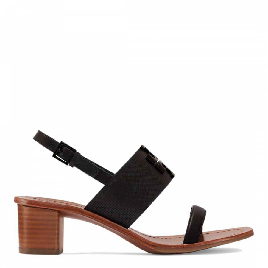 0f0c29c01 Black Lowell Perforated Leather Sandal - BrandAlley