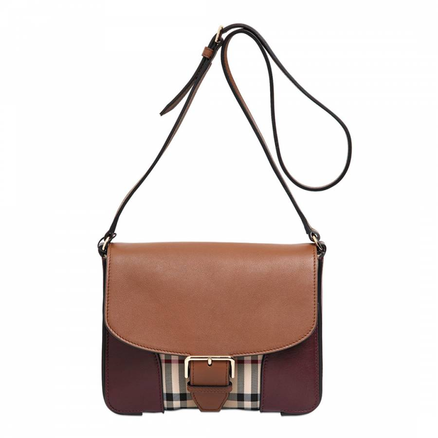 26e5195a52ee Tan and Red Leather Small Horseferry Check Crossbody Bag - BrandAlley