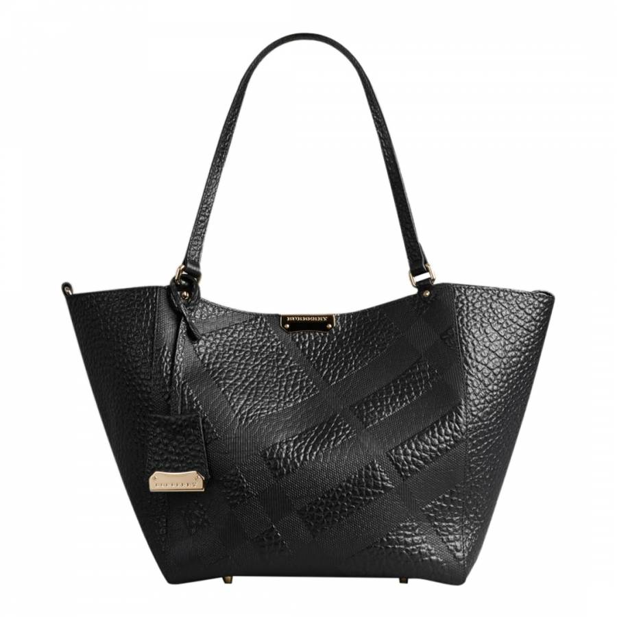 655aa8a8ccf Black Leather Small Canter Embossed Check Bag - BrandAlley