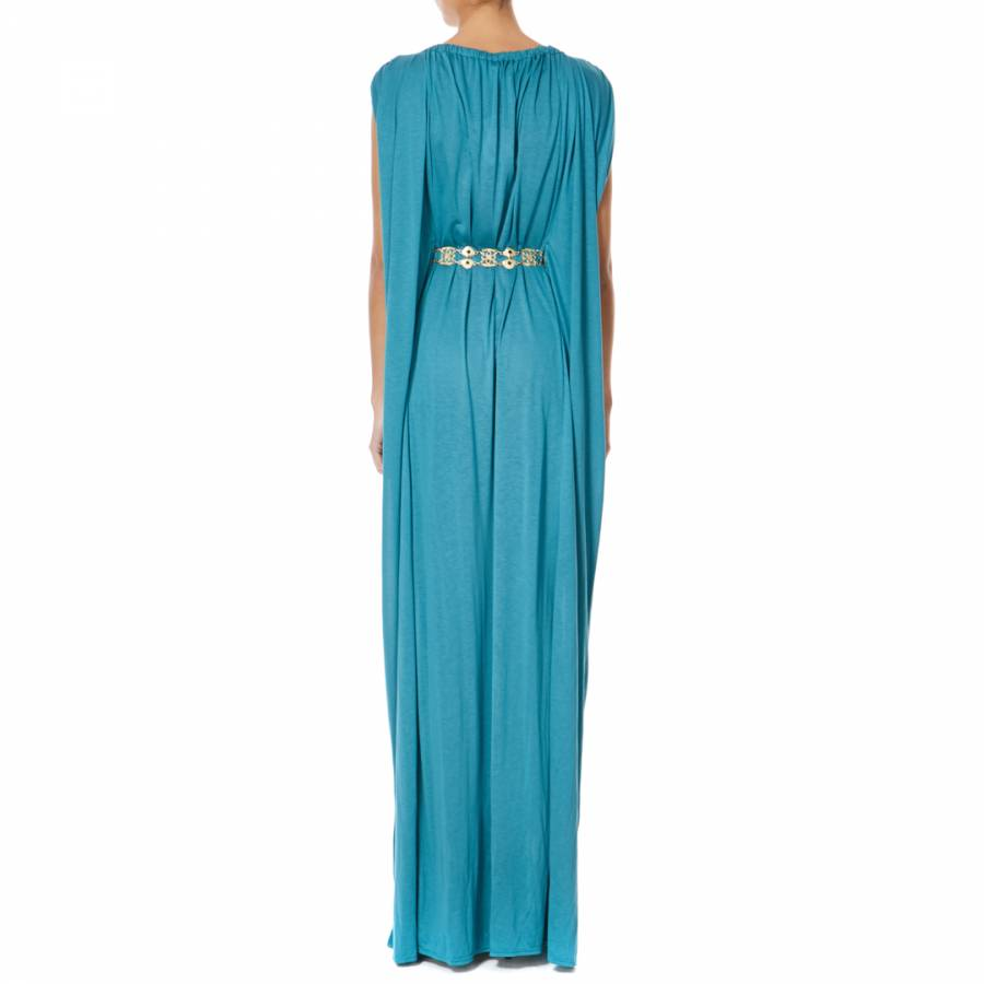 Turquoise Jersey Maxi Dress - BrandAlley