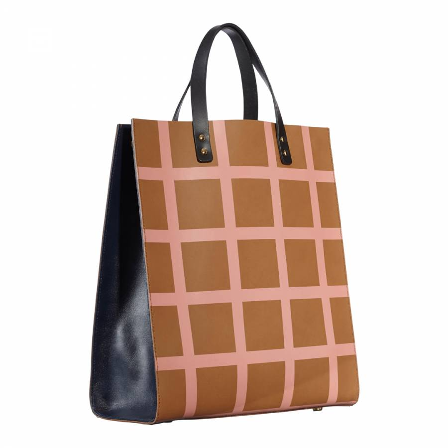 4efcdf91ecf5 Brown Leather Printed Check Leather Willow Bag - BrandAlley
