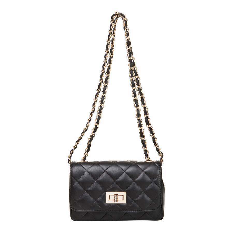 e580b54b00db Markese Black Leather Quilted Shoulder Bag. prev. next. Zoom