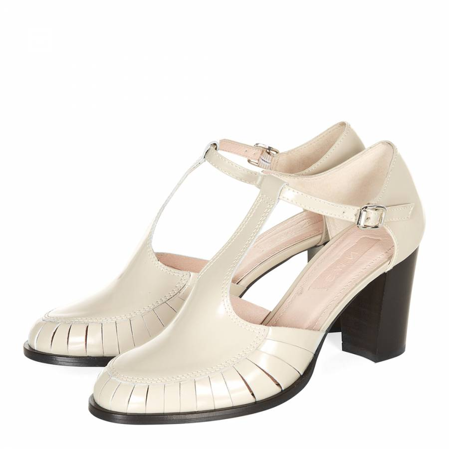 bfe85f3c9882a Cream Leather Cerys Ankle Strap Sandals Heel 7.5cm - BrandAlley