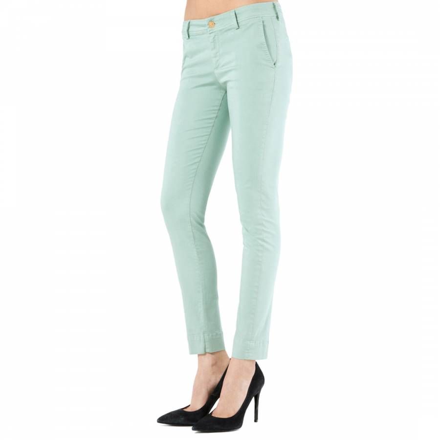 7 For All Mankind Mint Green Roxanne Colosaage Mid Rise Stretch Skinny Jean