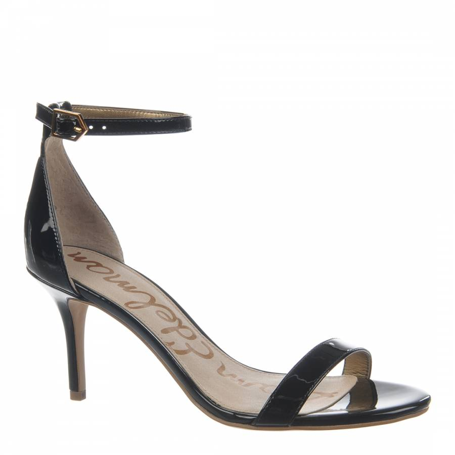 c8f9c138c07 Black Leather Patent Patti Ankle Strap Sandals - BrandAlley