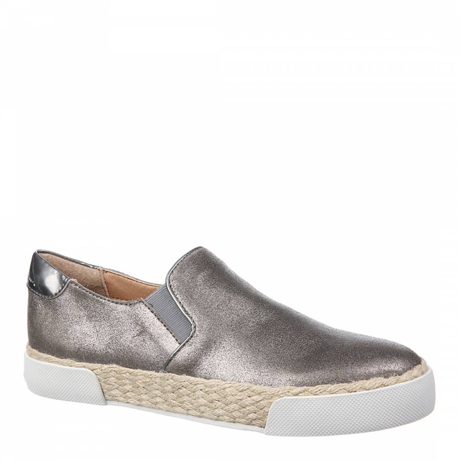 a42a199a2ea7f9 Pewter Metallic Leather Banks Slip On Trainers - BrandAlley