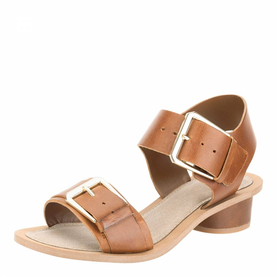250259d11 Women s Tan Leather Sandcastle Art Sandals Heel 3cm - BrandAlley