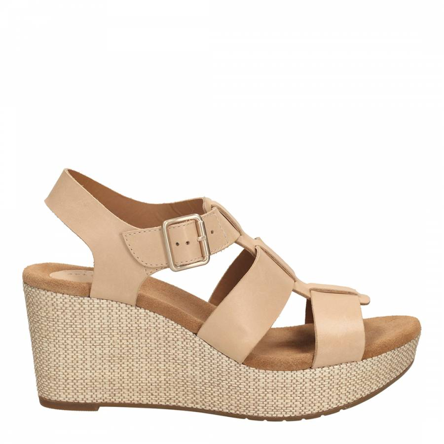 bdc16bc11449e Clarks Women s Nude Leather Caslynn Reece Wide Fit Wedge Sandals Heel 8cm