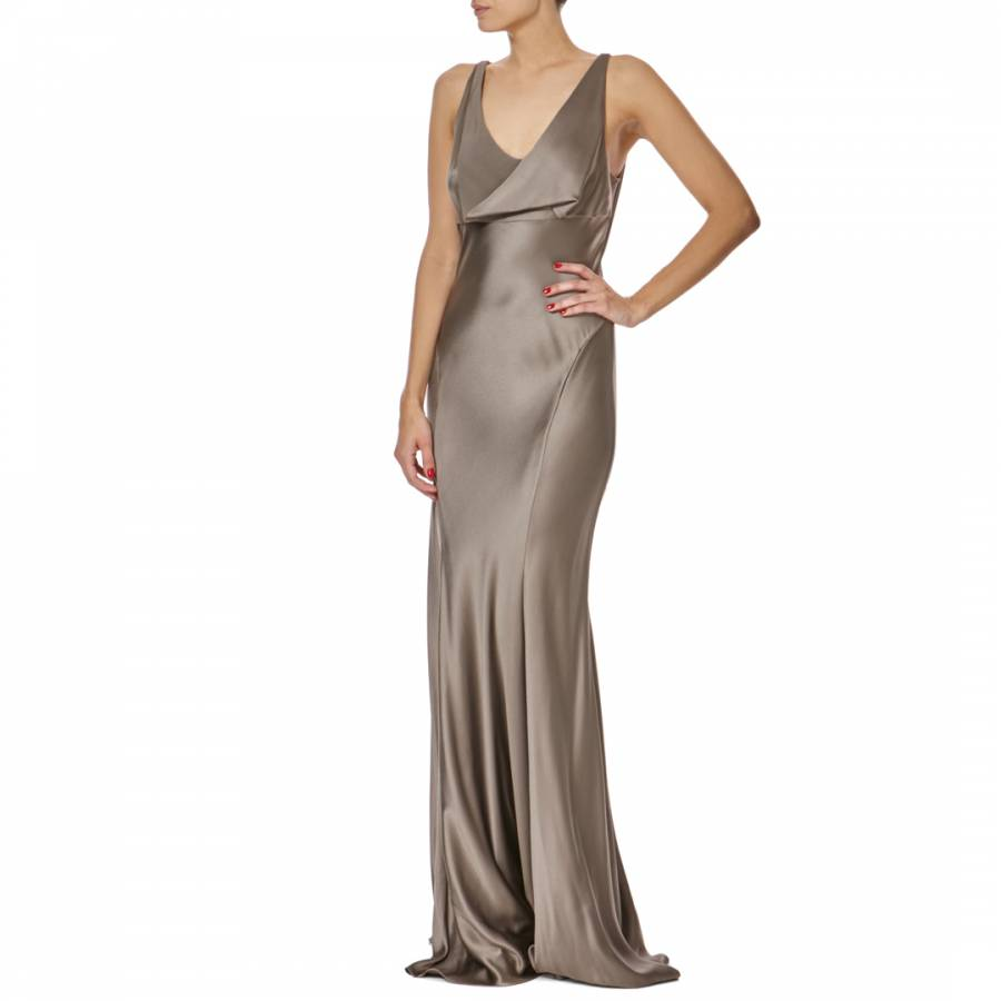Cowl Neck Satin Wedding Dresses: Mink Cowl Neck Silk Evening Gown