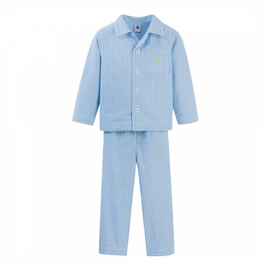 Boy s Blue Striped Grandpa-Style Pyjamas - BrandAlley 9e9d9eef653