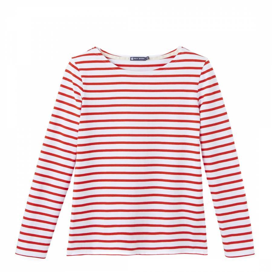 5e83301169a3 Petit Bateau Red/White Striped Mariniere Cotton Jersey Top