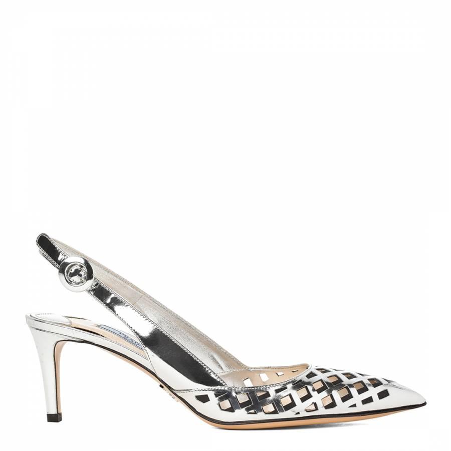 Prada Silver Leather Capretto Lamina Slingback Pointed Sandals Heel 6.5cm