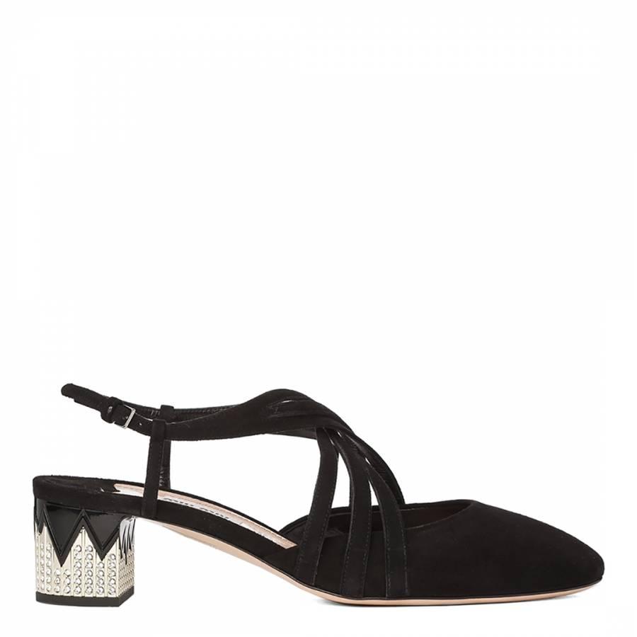 3f4d815fe90e1 Black Suede Camoscio Kitten Heel Sandals Heel 5cm - BrandAlley