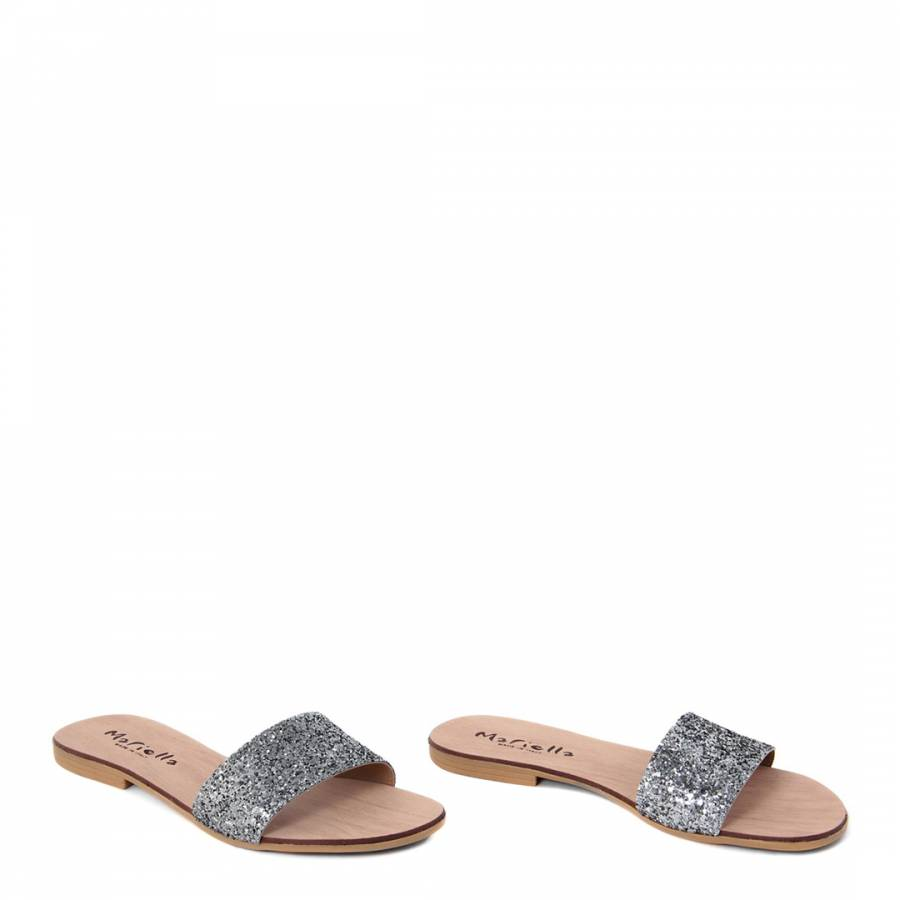 d5d83d11788e36 Silver Glitter Flat Sandals - BrandAlley