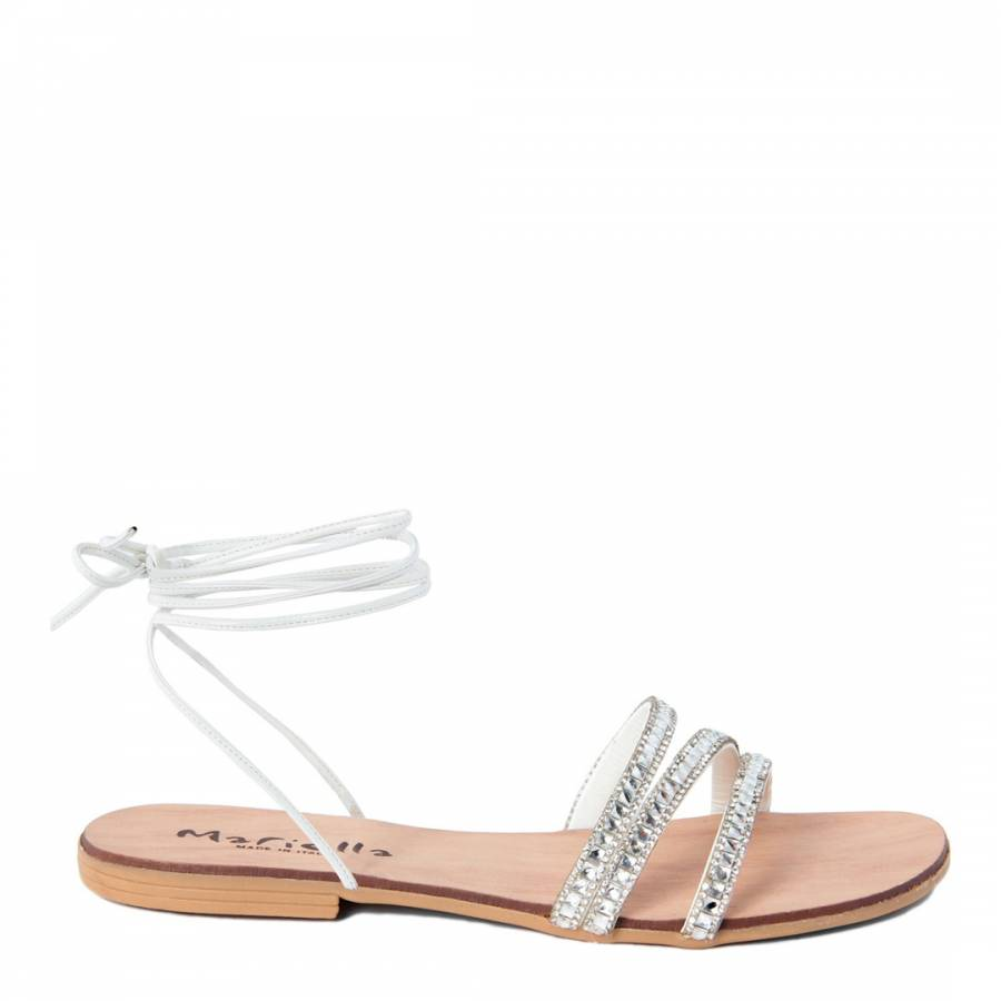 60bd21947 Zoom · Mariella White Lace Up Rhinestone Flat Sandals