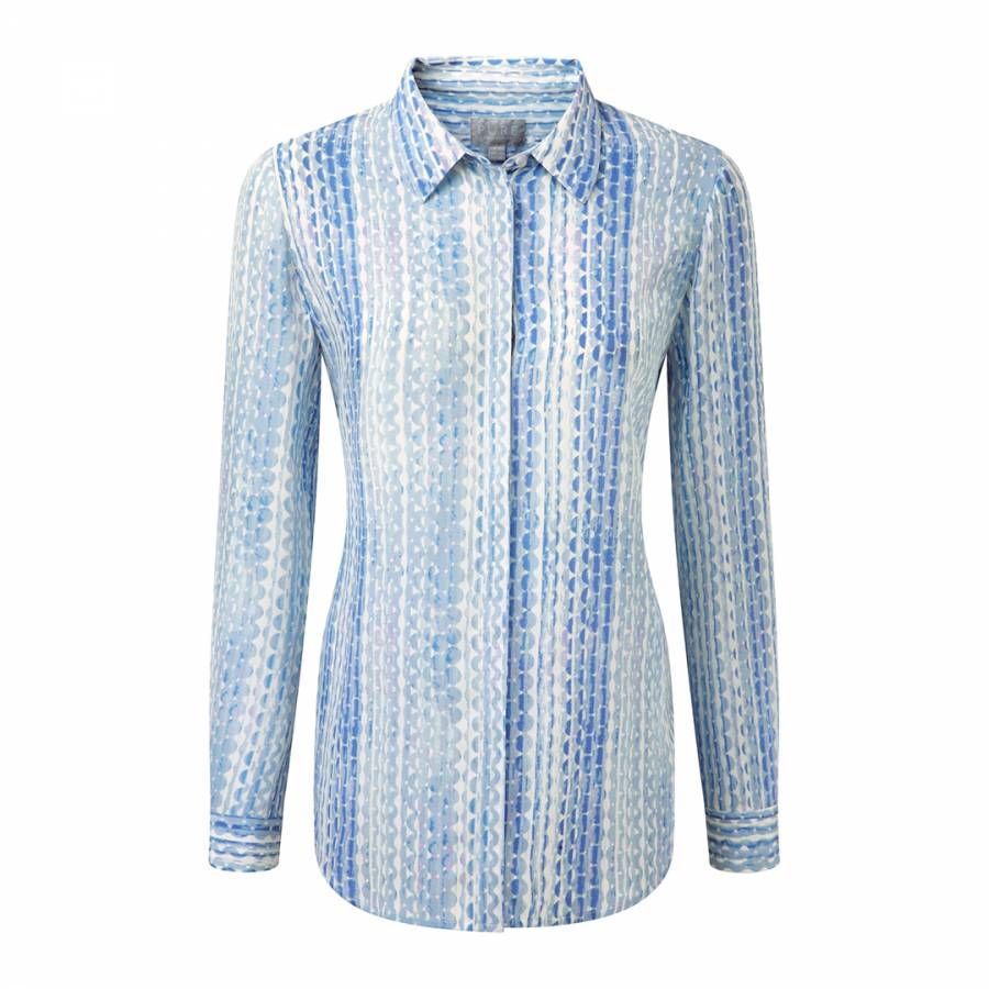 7becf92264de1 Blue Abstract Spot Washed Silk Blouse - BrandAlley