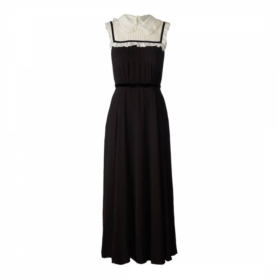 Image of Black Velvet Trim Viscose Flora Regular Length Sleeveless Dress