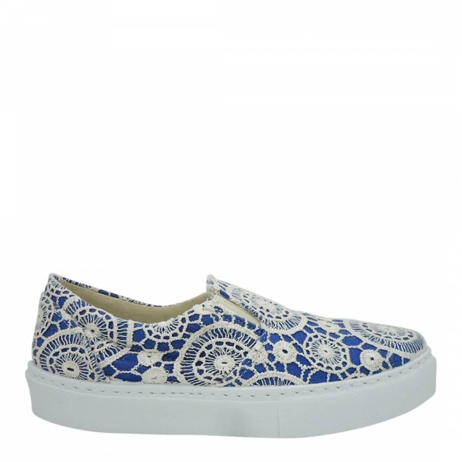 7ea00bad5 Chiara Ferragni Cream Blue Lace Overlay Loafers