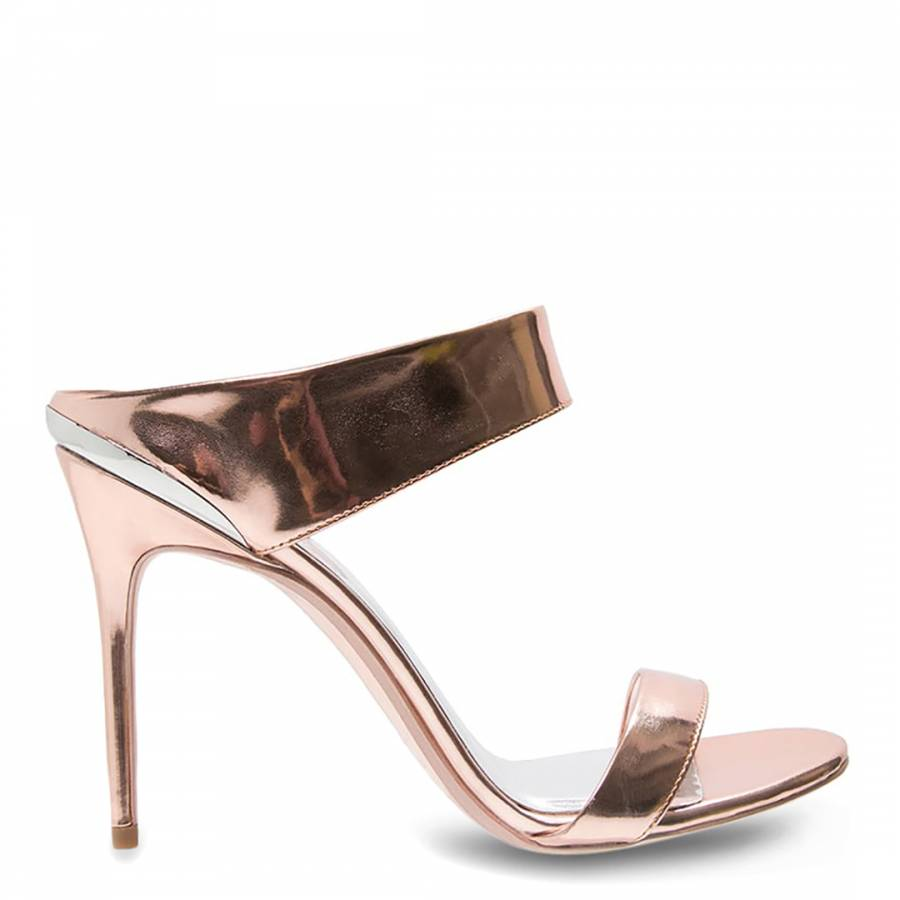 d016670eb938 Ted Baker Rose Gold Patent Leather Chablise Stiletto Sandals Heel 10cm