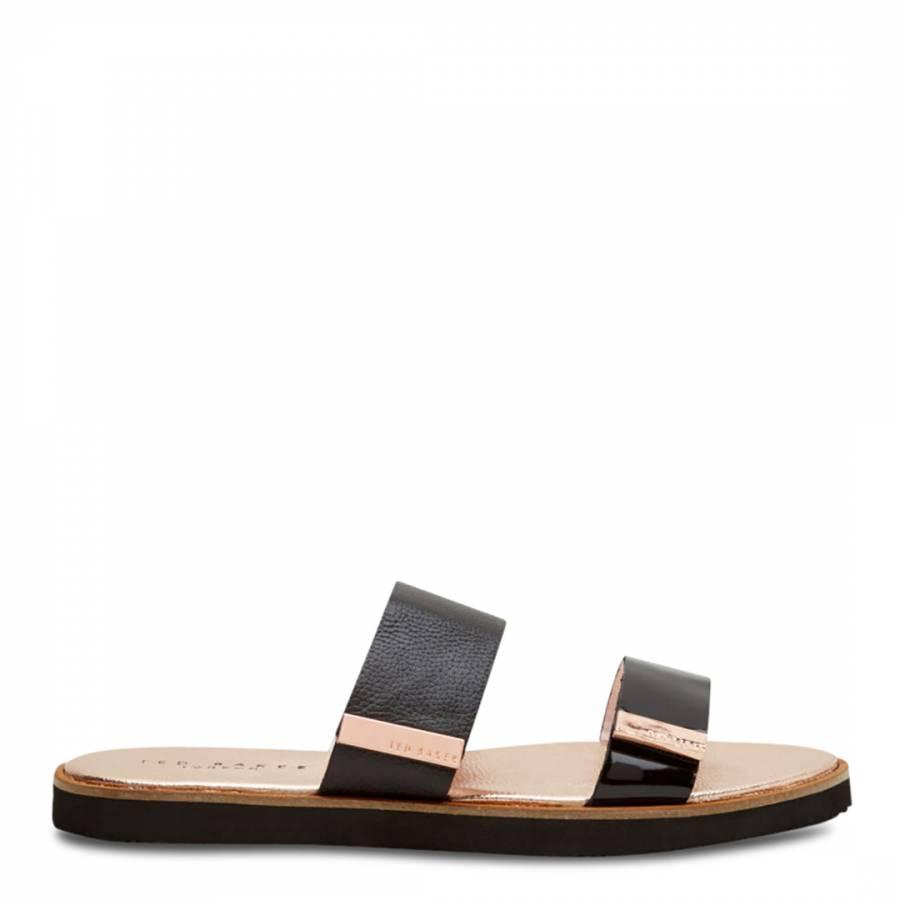 ebd1d453d Black Leather Maiwen Flat Sandals - BrandAlley