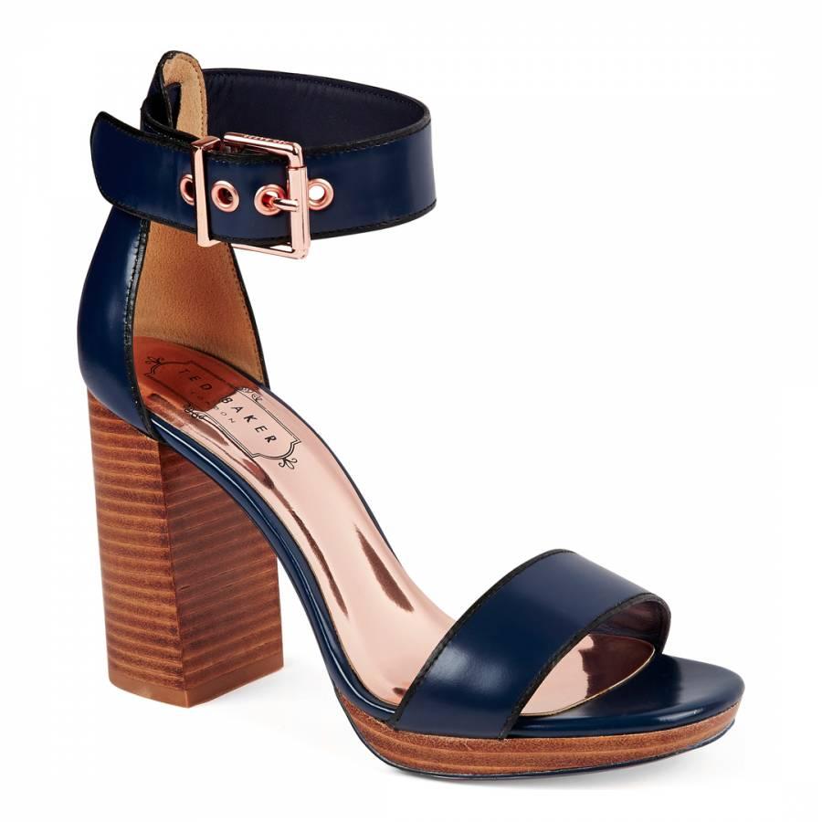 d4627693514c Dark Blue Leather Lorno Platform Block Heeled Sandals - BrandAlley
