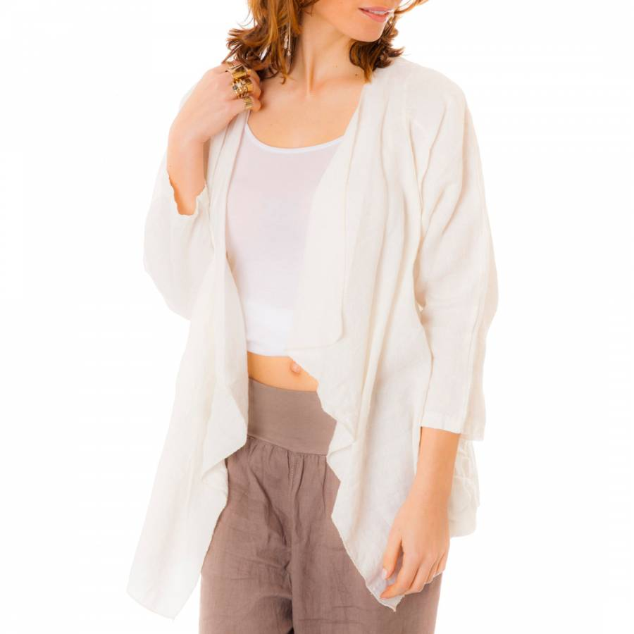 White Long Sleeved Linen Waterfall Cardigan - BrandAlley