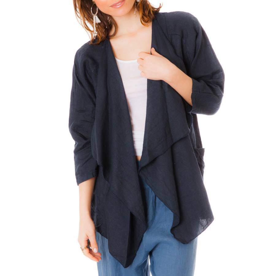 Navy Long Sleeved Linen Waterfall Cardigan - BrandAlley