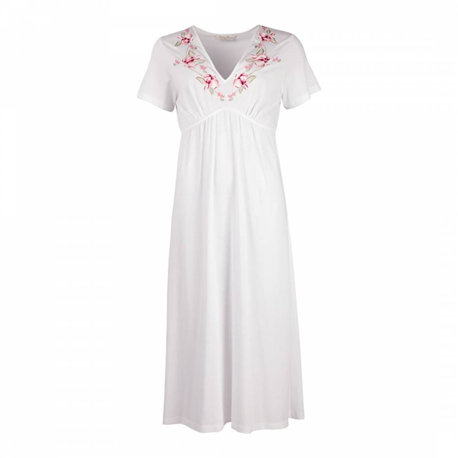 White Pink Knit Embroidery Short Sleeve Cotton Nightdress - BrandAlley a590dcbf0