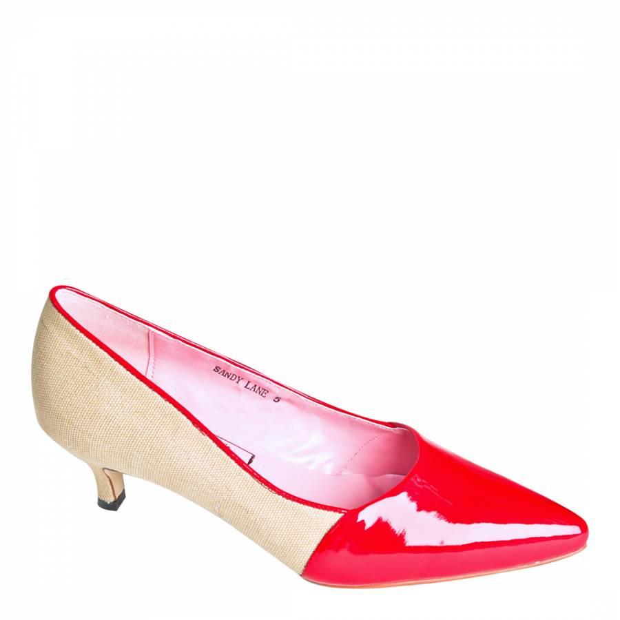 b22ea7ab2ad Beige/Red Patent Leather Sandy Lane Sandals Heel 3.8cm