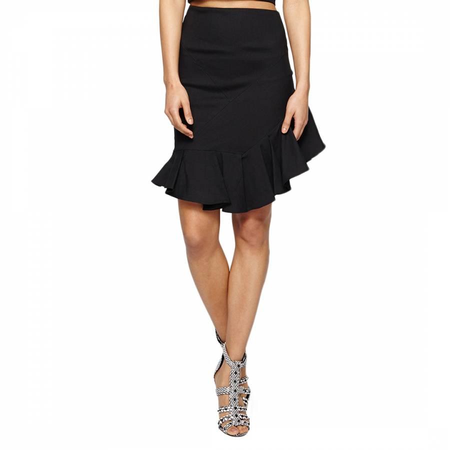 51f7d4145 Nicole Miller Black Stretch Linen Slant Ruffle Skirt