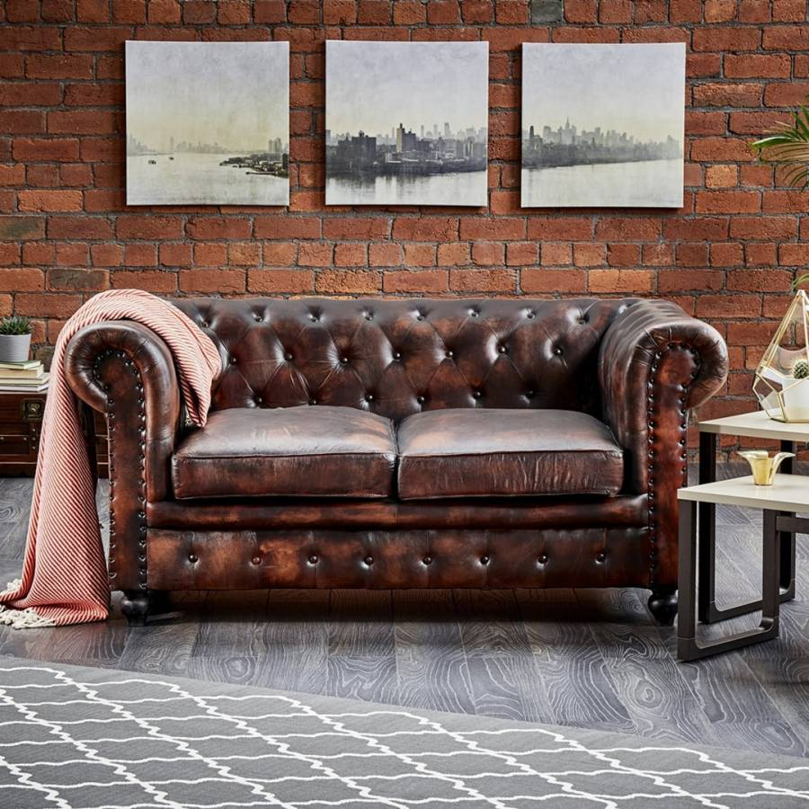Dark Brown Leather Two Seater Chesterfield Sofa BrandAlley