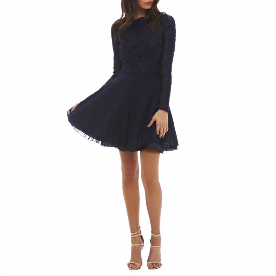 Navy Lace Detail Pleated Skater Dress - BrandAlley 6908ac9c0