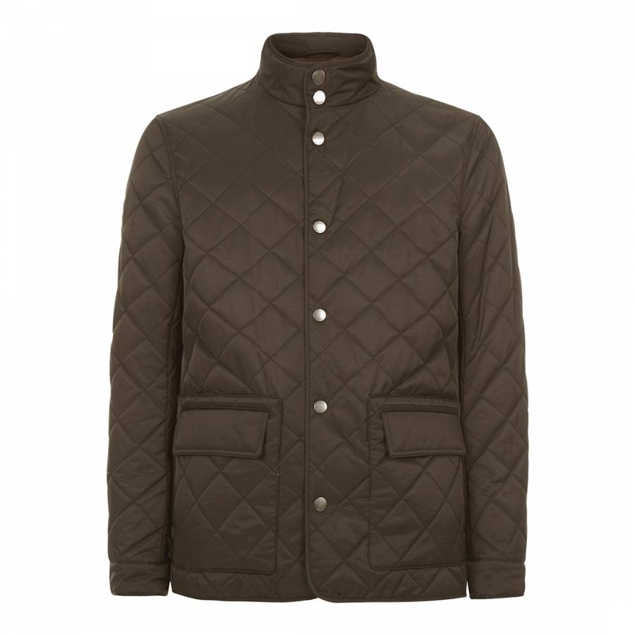 12acfaff14 Khaki Quilted Cotton Blend Jacket