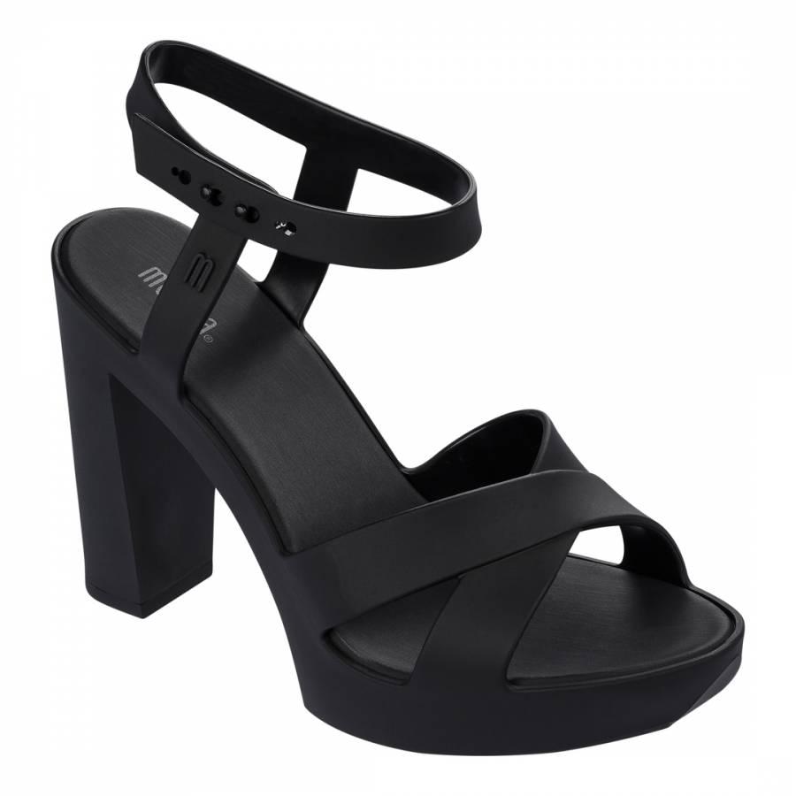 46c87a6e89f Matt Black Classic Lady Block Heel Sandals Heel 11.5cm - BrandAlley