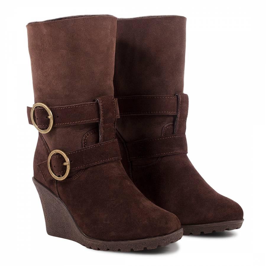 fcc9e19d3c7 Brown Sheepskin Wedge Heel Zippy Boots