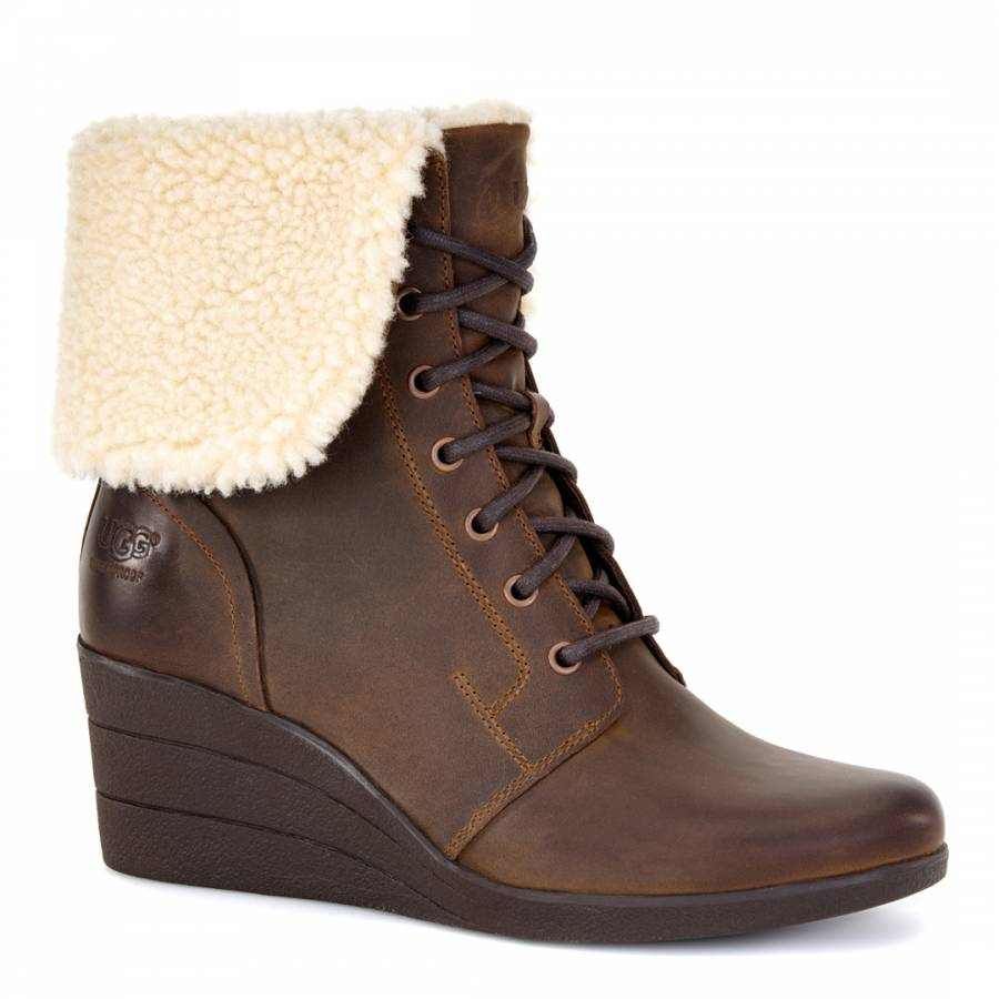 ugg zea wedge ankle boots brown