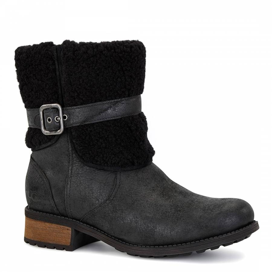 2d006582472 UGG Black Leather Blayre Sheepskin Lined Boots