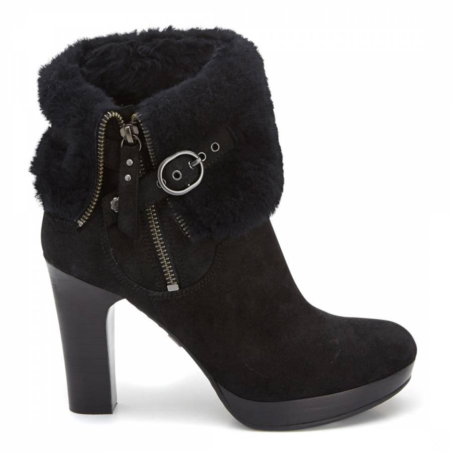7b6b9212bb1 Black Suede Scarlett Sheepskin Lined Ankle Boots