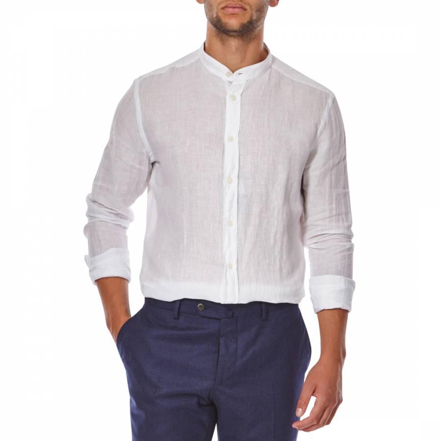White Grandad Collar Slim Fit Linen Shirt Brandalley