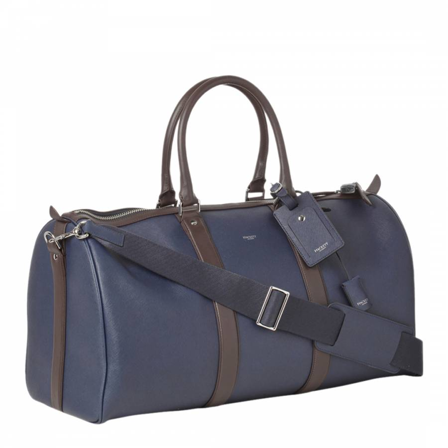 51667c6583 Hackett London Navy/Brown Large Boston Cabin Leather Bag