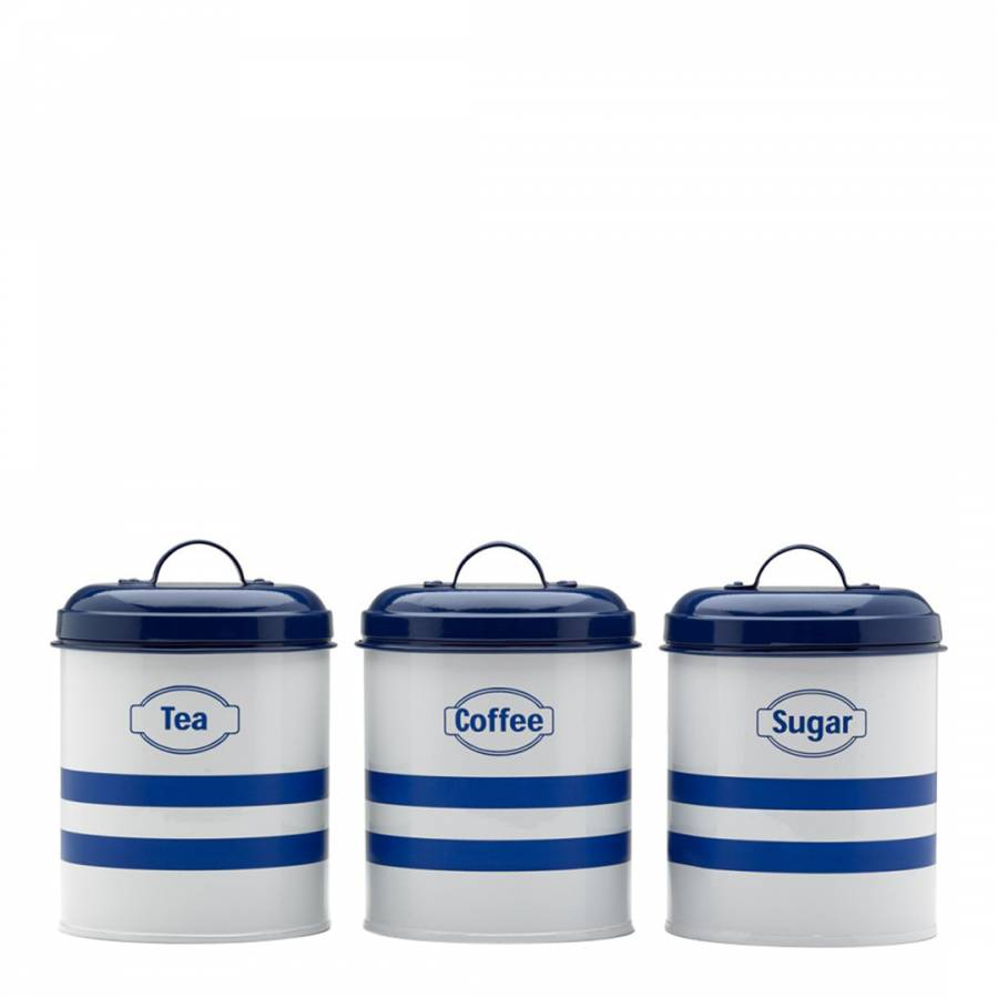 3 Piece Whiteblue Steel Teacoffeesugar Vintage Canister Set