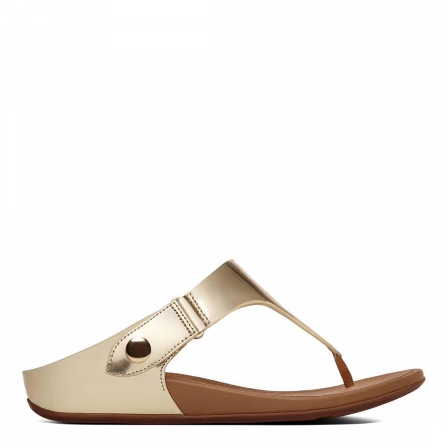 09cdc3c44 Pale Gold Metallic Gladdie Toe Post Sandals - BrandAlley