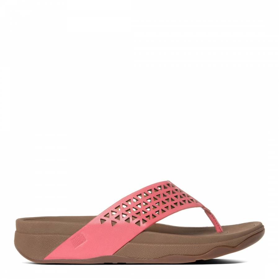 66a2439d12474d FitFlop Pink Leather Lattice Surfa Sandals. prev. next. Zoom