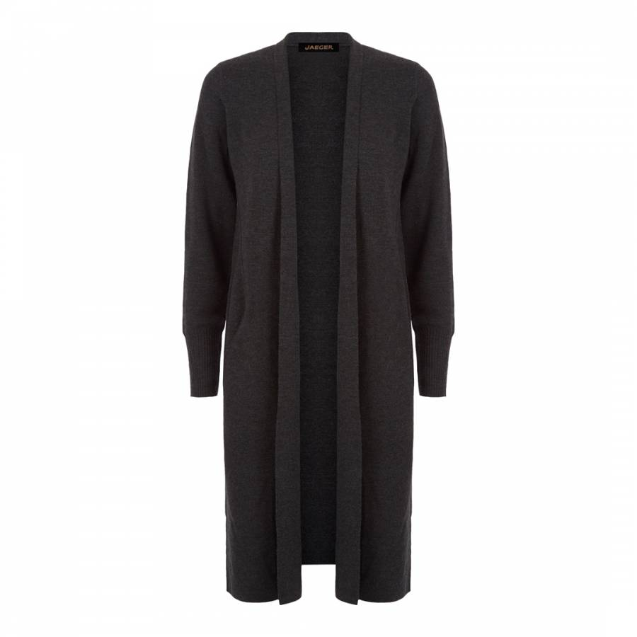 Jaeger Dark Grey Full Needle Long Line Wool Cardigan