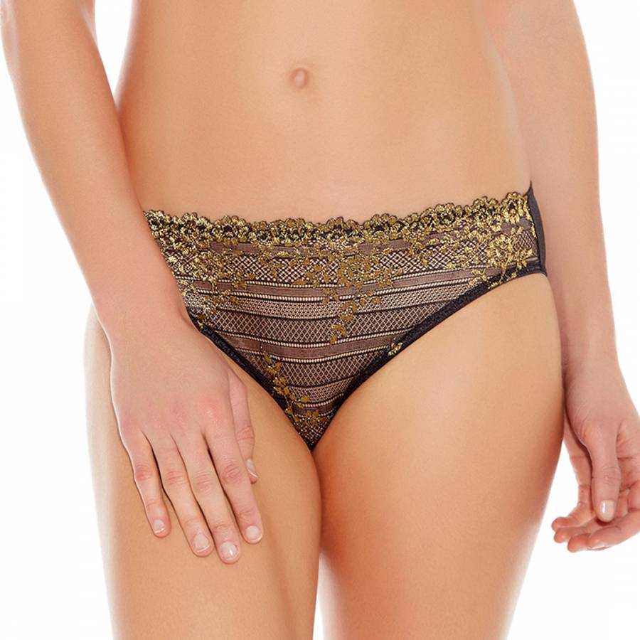 96b5ca558953 Black/Gold Embrace Lace Bikini Briefs - BrandAlley