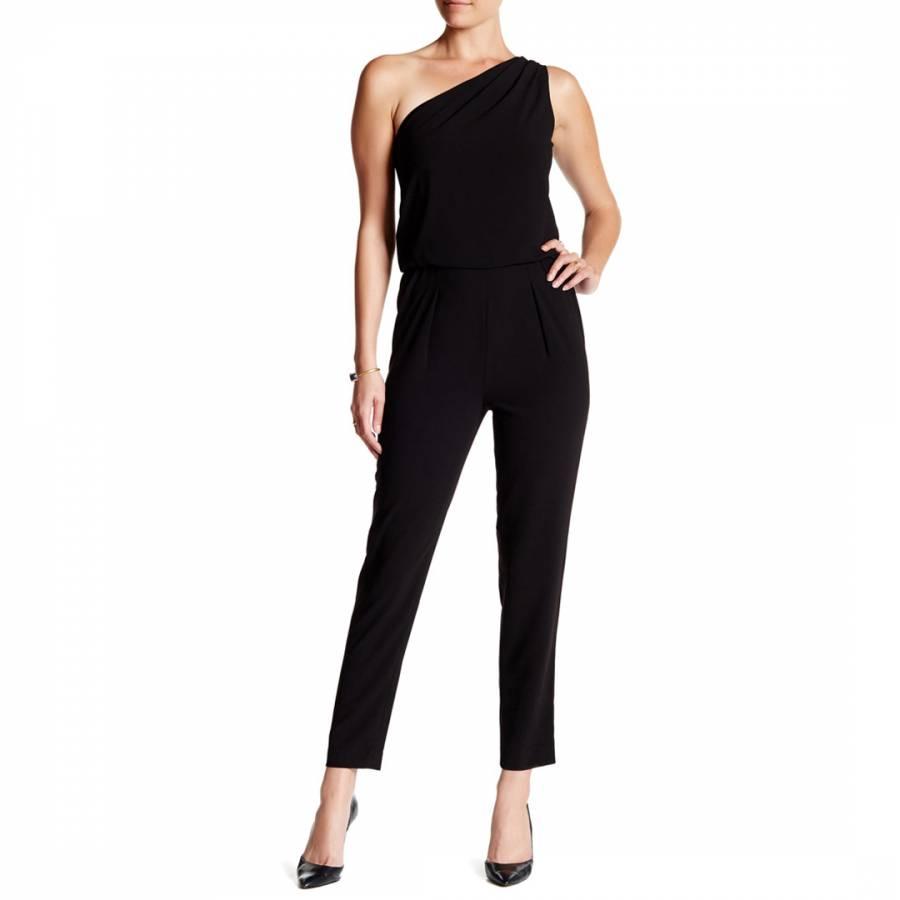 bff96f1b63 Halston Heritage Black One Shoulder Crepe Jumpsuit